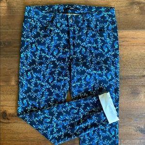 Else Blue Floral Print Ankle Skinny Jeans